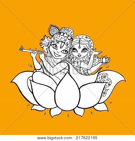 Hindu God. Radha, Krishna Vector hand drawn illustration