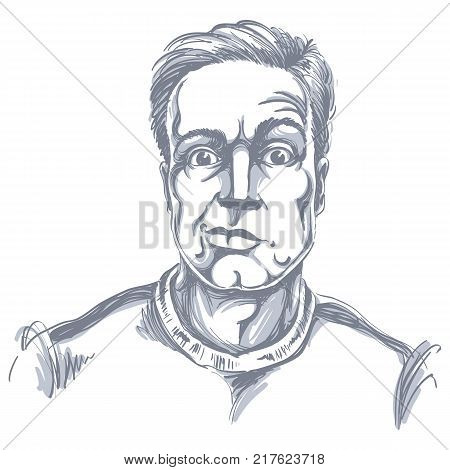 Hand-drawn vector illustration of skeptic guy with short hair. Monochrome image expressions on face of young man shocked person.