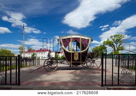 Ramon Russia - June 13 2016: A carriage at the palace park Oldenburg in the village of Ramon Voronezh region