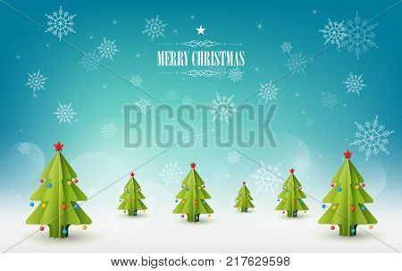 Merry Christmas background, A lot of Christmas pine trees and snowflakes in Snowy landscape, Winter coming concept, paper art style, vector illustration