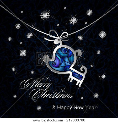 happy new year and merry Christmas with a dog in the form of silver pendants with brightly colored enamel and snowflakes