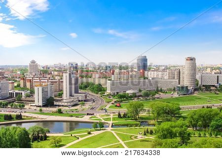 Minsk Nemiga (Prospect of victors House of trade union hotel park). Aerial view spring - May 20 2017. Belarus.