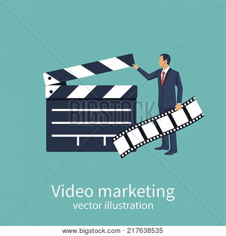 Movie clapper board. Video marketing concept. Film producer holds tape in hand. Open clapperboard. Cinematography. Template for the director's instructions, producer. Vector illustration flat design.