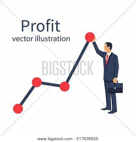 Profit concept, growing business graph. Financial growth graph. diagram Template investment. Vector illustration flat design. Businessman up hold chart arrow. Improve graph stock market.