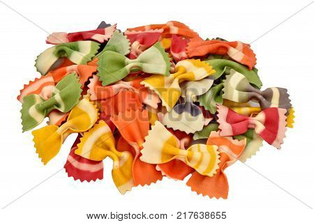 Macaroni on a white background. Products from flour. Varied macaroni. Isolated pasta.