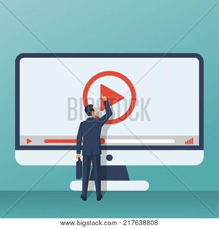 Video tutorial concept. Businessman presses play button. Vector illustration flat design. Isolated on background. E-learning, video stream. Social media.