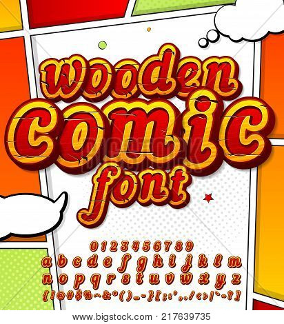 Colorful wooden font on comic book page. Alphabet in style of comics, pop art. Cartoon multilayer letters and figures for decoration of kids' illustrations, game design, comics, banners