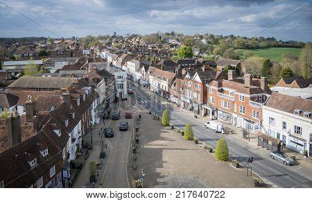BATTLE ABBEY, BATTLE, EAST SUSSEX, UK, 13TH APRIL 2017 - Aerial view of Battle High Street Battle Sussex England UK