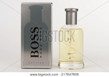 Brnenec, Czech Republic-December 5,2017: Bottle and box of EDT for men Hugo Boss Boss Botled on white background.