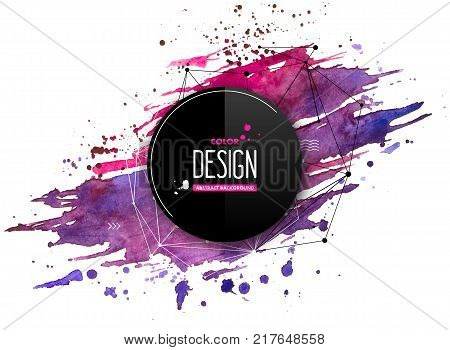 Pink-purple abstract aquarelle background with geometric pattern and place for text. Hand drawn watercolor stains, splashes and drops on white. Template for covers, flyers, banners, posters, placards
