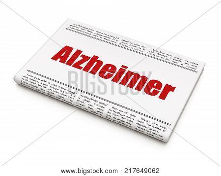 Medicine concept: newspaper headline Alzheimer on White background, 3D rendering