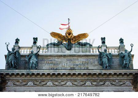 Facade of Neue Burg in Hofburg Palace Vienna Austria.