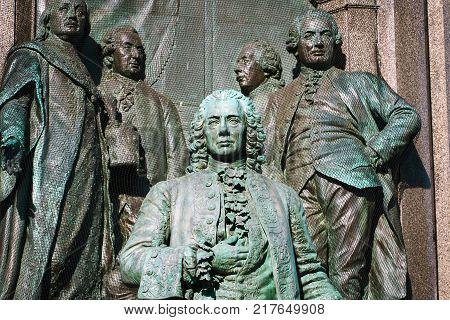 details on the Maria Theresa monument. Statue of Friedrich Wilhelm Graf von Haugwitz on the square between museums in Vienna Austria
