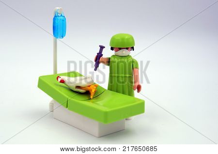 Almere, The Netherlands-  December 10, 2017: Playmobil veterinarian inoculates a chicken against bird flu.