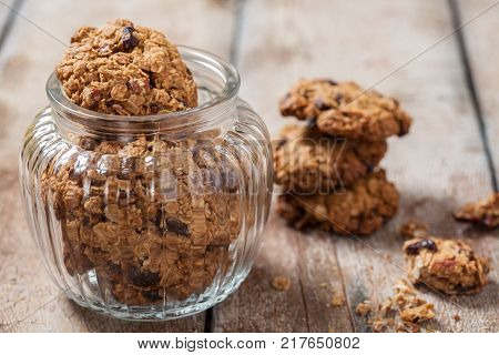 Delicious old fashion oatmeal cookies with pecan nuts and dried cranberries