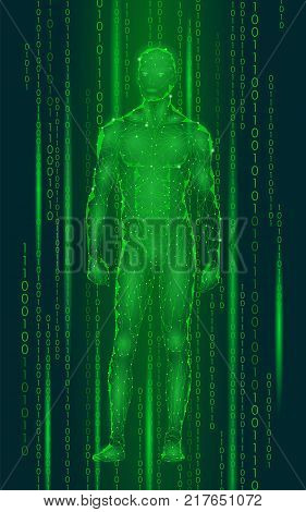Humanoid android man standing cyberspace binary code. Robot artificial intelligence low poly polygonal human body fitness shape. Mind internet network vector abstract green illustration art