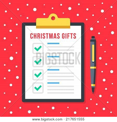 Christmas gifts list. Clipboard with holiday gifts checklist. Christmas shopping concept. Document with green check marks and checkboxes. Top view. Flat design graphic elements. Vector illustration