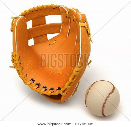 Sports in USA: baseball glove and ball over white background poster