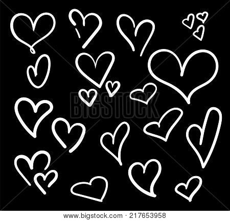 Hand Drawn Hearts Set Isolated. Design Elements For Valentine's Day. Collection Of Doodle Sketch Hea