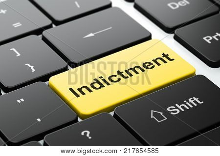 Law concept: computer keyboard with word Indictment, selected focus on enter button background, 3D rendering