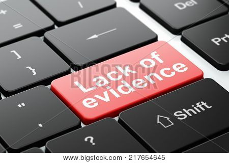 Law concept: computer keyboard with word Lack Of Evidence, selected focus on enter button background, 3D rendering