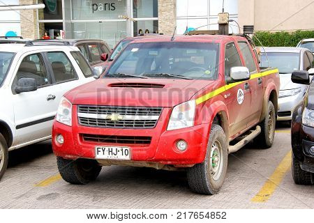 Copiapo Chile - November 14 2015: Pickup truck Chevrolet LUV D-Max in the town street.