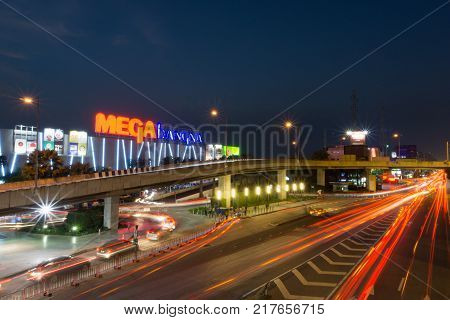 Samut PrakanThailand - Dec 102017: Mega Bangna is a large shopping mall in Bangkok. It is the fist horizontal shopping center in Asia with the area of 400000 sq.m.Include Ikea Robinson Homepro BigC and Major Cineplex