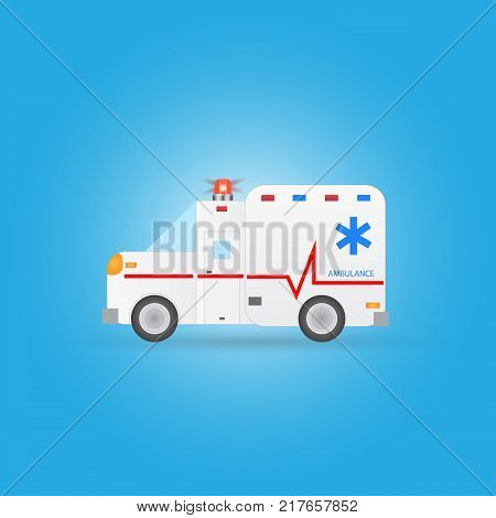 Illustration of an ambulance isolated on a blue background.