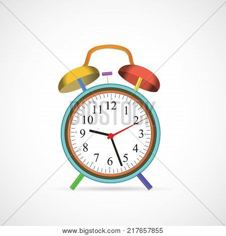 Illustration of a colorful alarm clock isolated on a white background.