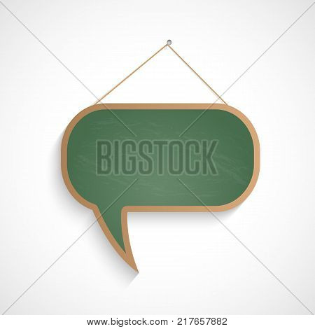 Illustration of a chalkboard chat bubble isolated on a white background.