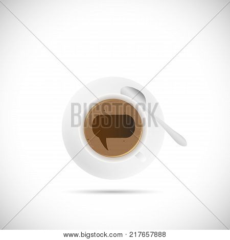 Illustration of a coffee cup with a chat bubble isolated on a white background.