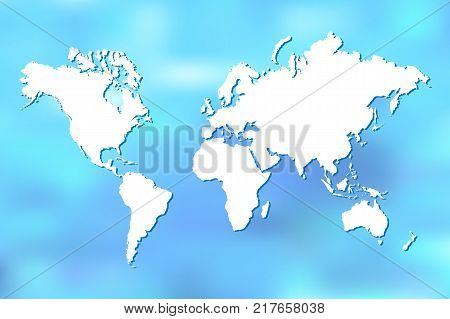 Colorful world map illustration on a blue blurry background