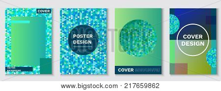 Mosaic posters set, geometric shapes, isometric pattern, hipster color background, turquoise cover in trendy minimalistic style, vector fashion wallpaper, banner, cove