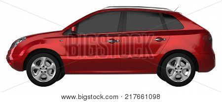 Compact city crossover red color on a white background. 3d rendering