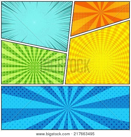Comic book colorful bright background with rays, radial, round, dotted and halftone effects in turquoise, green, yellow, orange and blue colors. Pop art style. Vector illustration