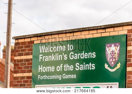 Northampton, UK - 29 OCTOBER 2017: Day view shot of Welcome To Franklin Gardens Home Of Saints Rugby Information Stand.