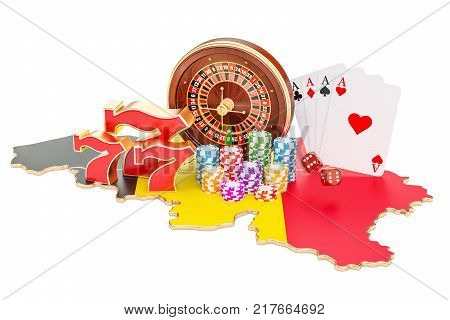 Casino and gambling industry in the Belgium concept 3D rendering isolated on white background