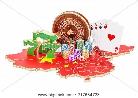 Casino and gambling industry in the China concept 3D rendering isolated on white background