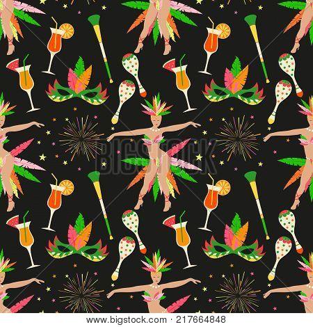 Brazillian carnival vector seamless pattern.  Rio de Janeiro icon background