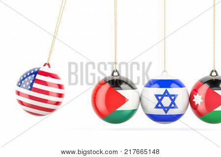 USA political conflict with Palestine Israel and Jordan concept. 3D rendering
