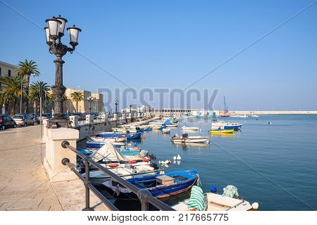 View of the port of Bari Apulia Italy