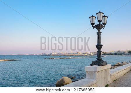 Afternoon view of seafront in Bari Apulia Italy