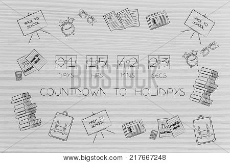 countdown to holidays conceptual illustration: timer surrounded by school-related items