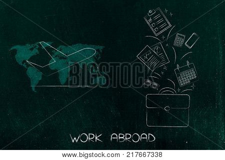 work abroad conceptual illustration: bag with office-related items flying out of it next to airplane icon over world map