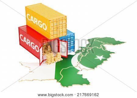 Cargo Shipping and Delivery from Pakistan isolated on white background