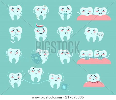 Cute cartoon teeth describing various dentistry problems and treatment. Dental floss protection, braces toothpaste, gum bleeding etc. Vector icons. Illustration
