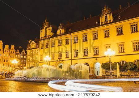 Wroclaw Poland January 27 2016: Night view of Market Square and Town Hall in Wroclaw. Wroclaw is the largest city in western Poland and historical capital of Silesia