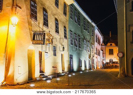Sighisoara, Romania - July 07, 2015: Night View Of Historic Town Sighisoara. City In Which Was Born