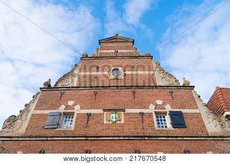 OOTMARSUM NETHERLANDS  Low angle view of a stepped gable with ornamentations