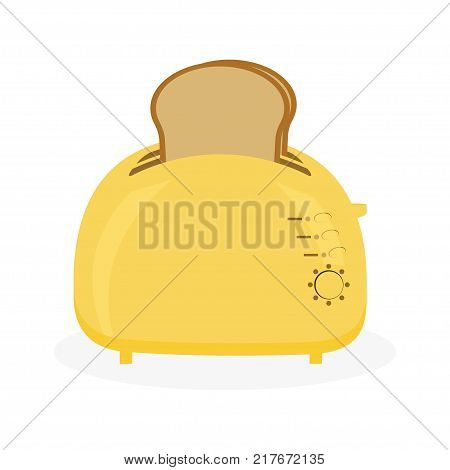 cool and funny yellow toaster with breads in it idea for breakfast toaster and slices of bread isolated on white background